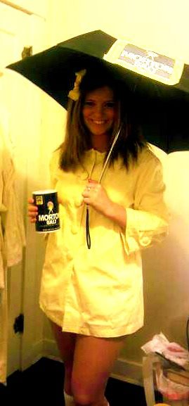 morton salt girl image for the costume i found an oversized yellow jacket which i tightened in the waist from value village wore kneehigh white socks